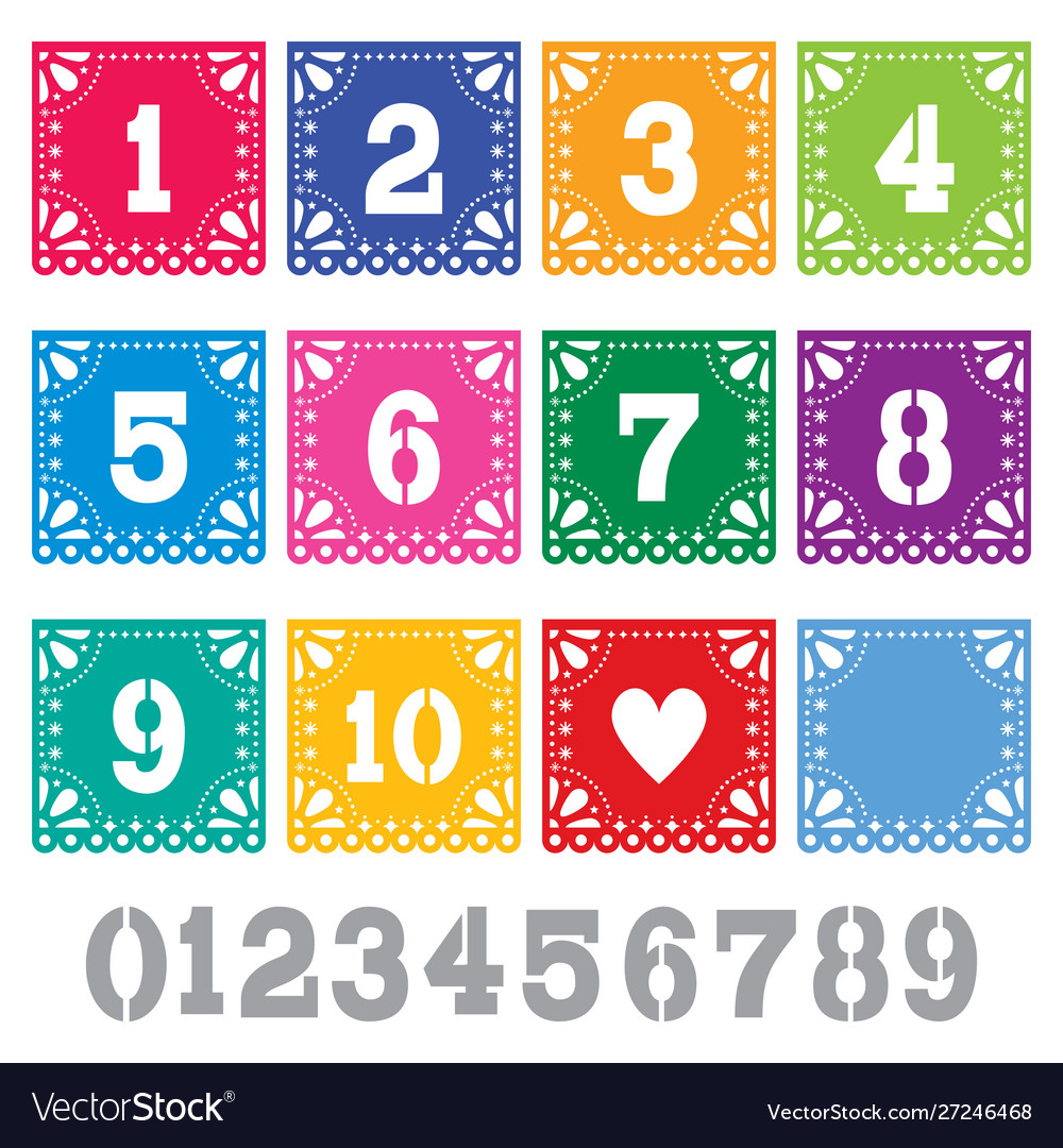 Papel picado table numbers template set