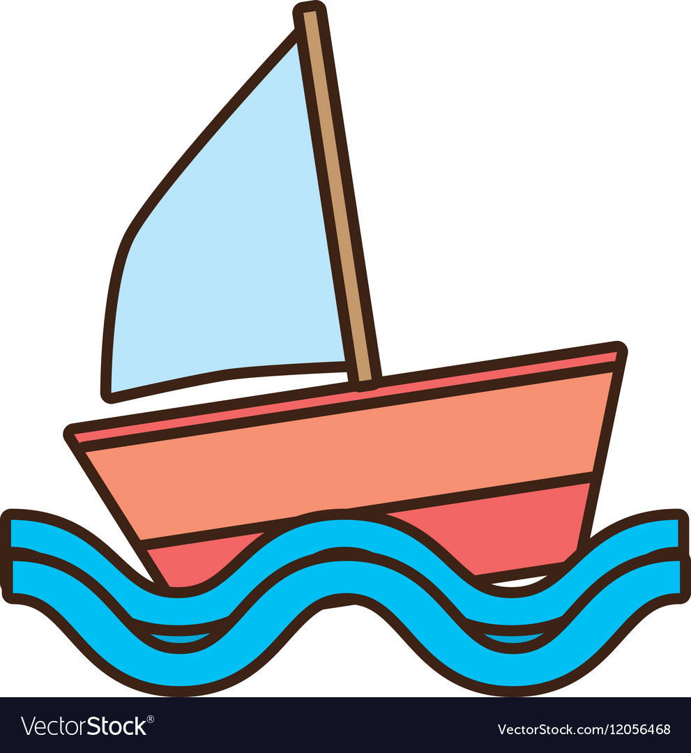 Sailing ship travel beach tourism vector image