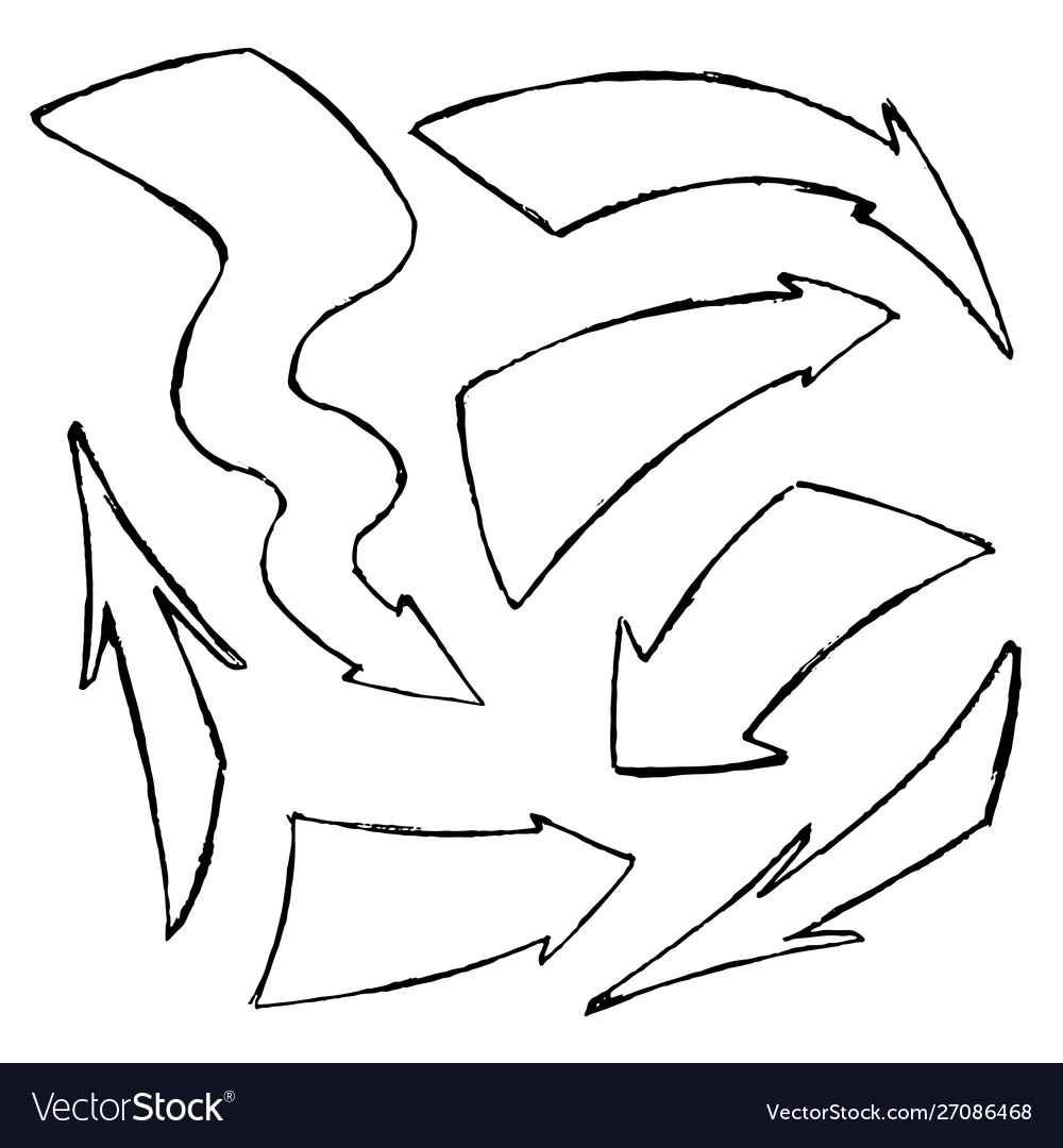 Set hand-drawn doodle black arrows on
