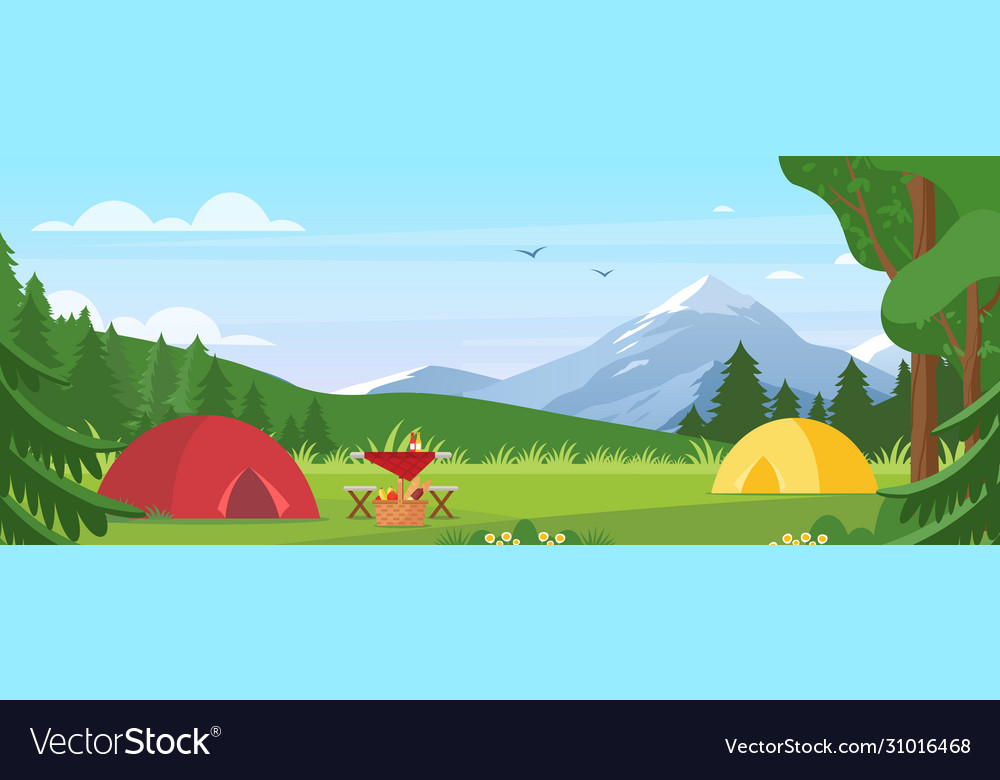 Summer camping cartoon flat