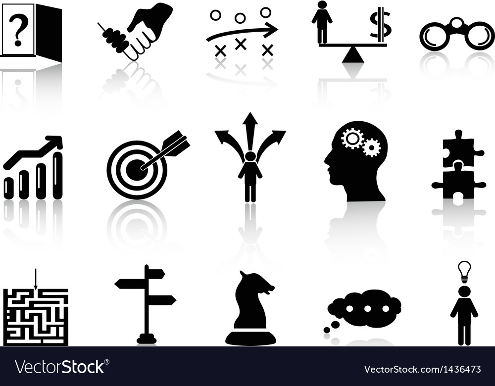 Business strategy icons set vector image