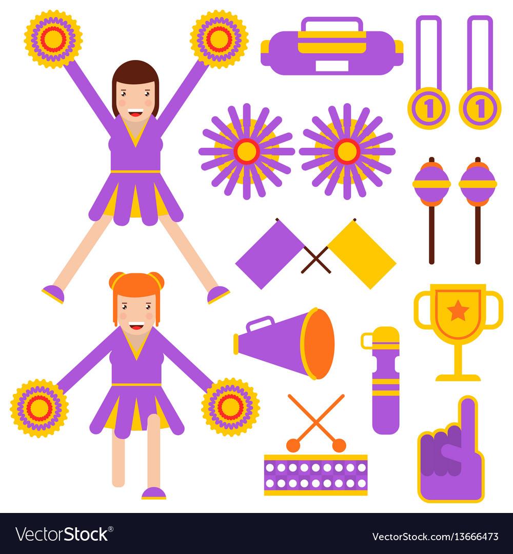 Cheerleading elements and cheerleader girls