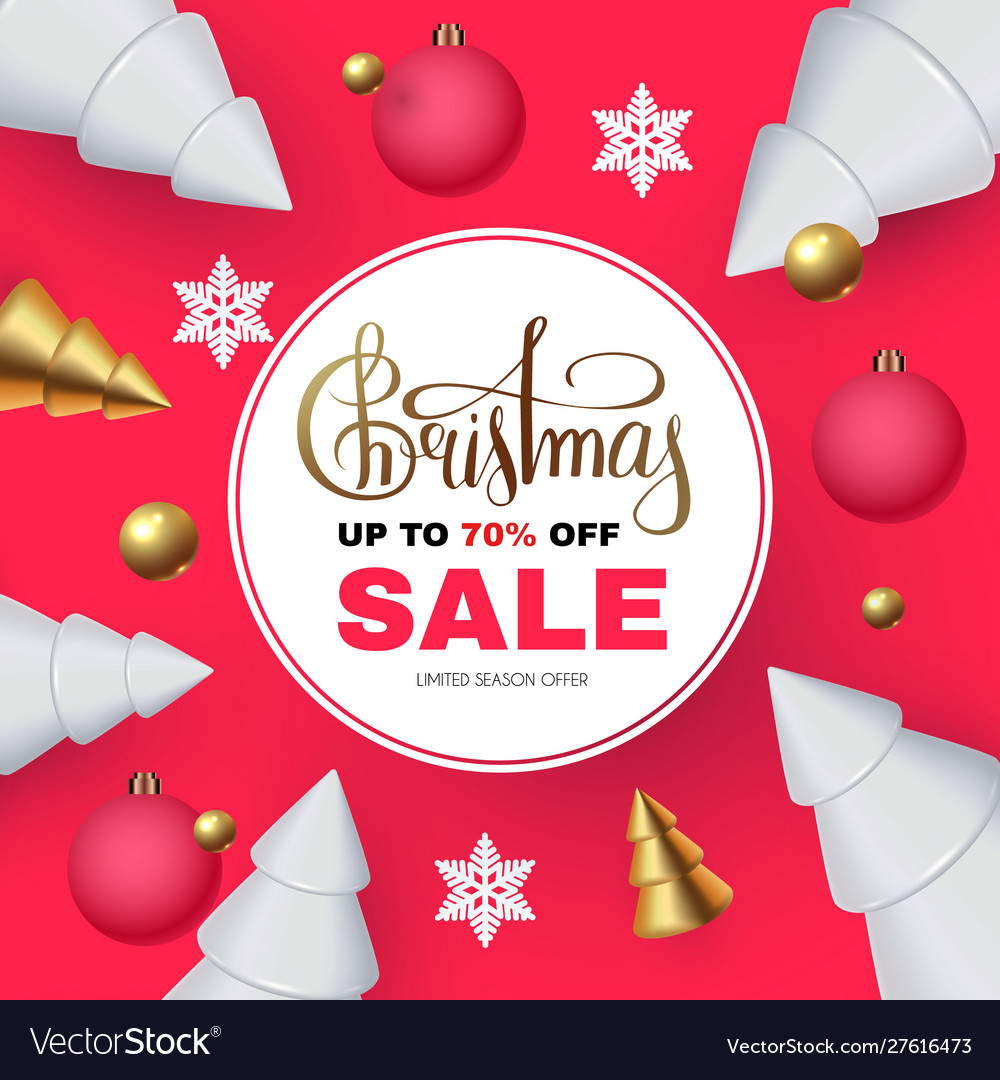 Christmas sale seasonal special offer with 3d fir