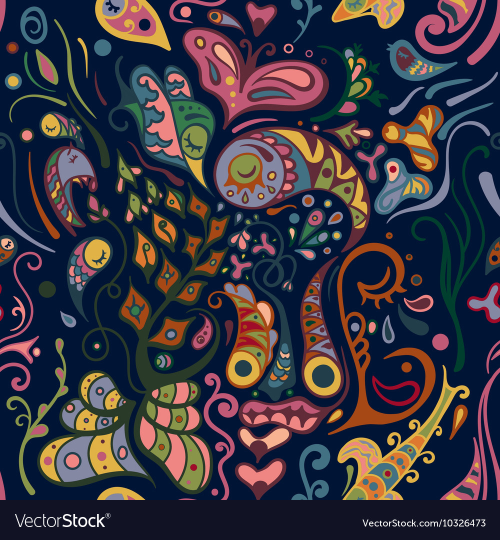 Colorful abstract seamless pattern bizarre shapes vector image