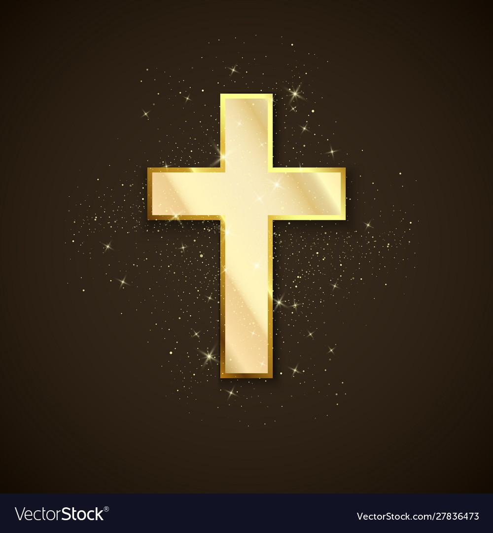 Golden cross symbol christianity holy metal