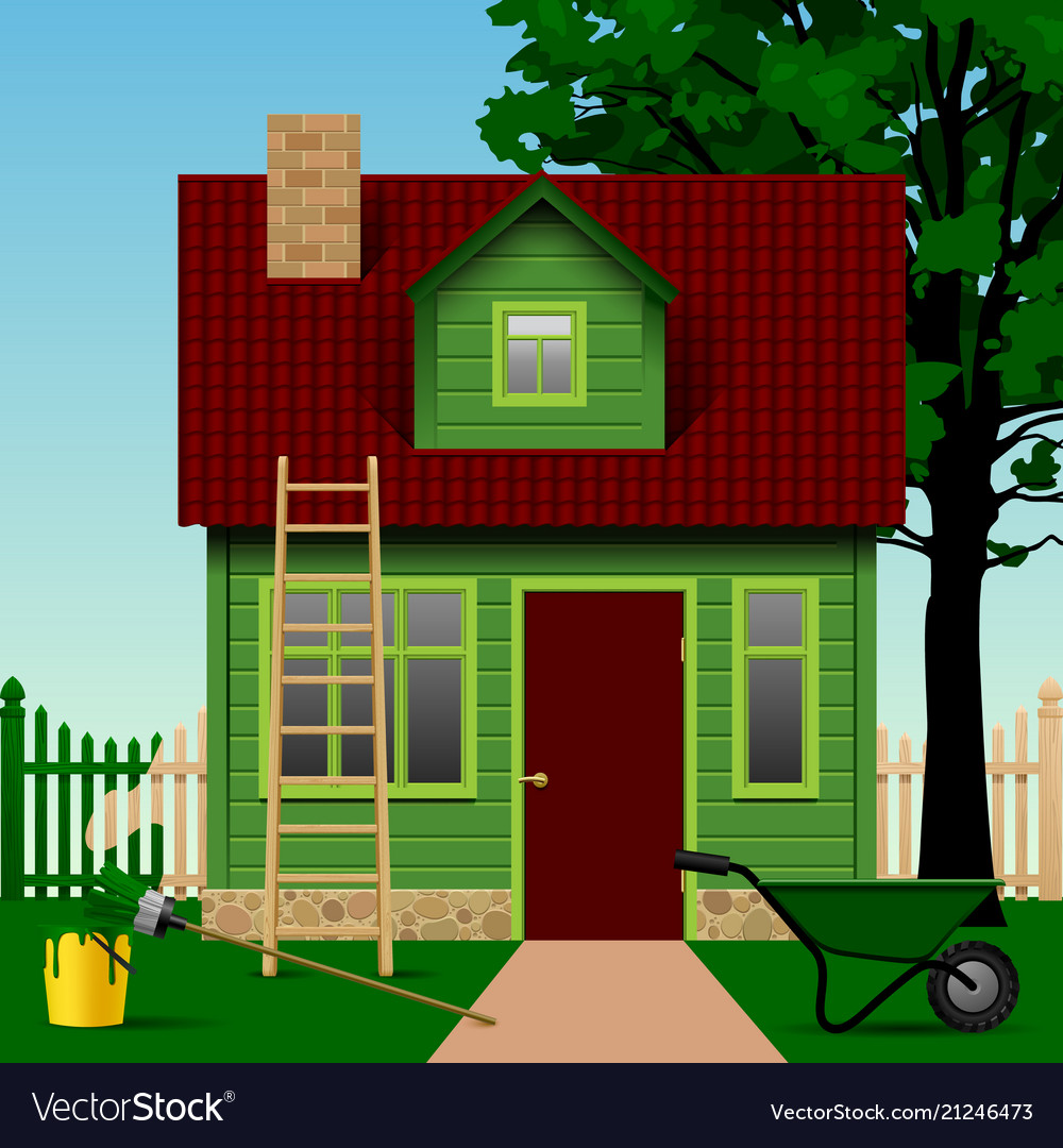 Green house on a plot with fence tree and home