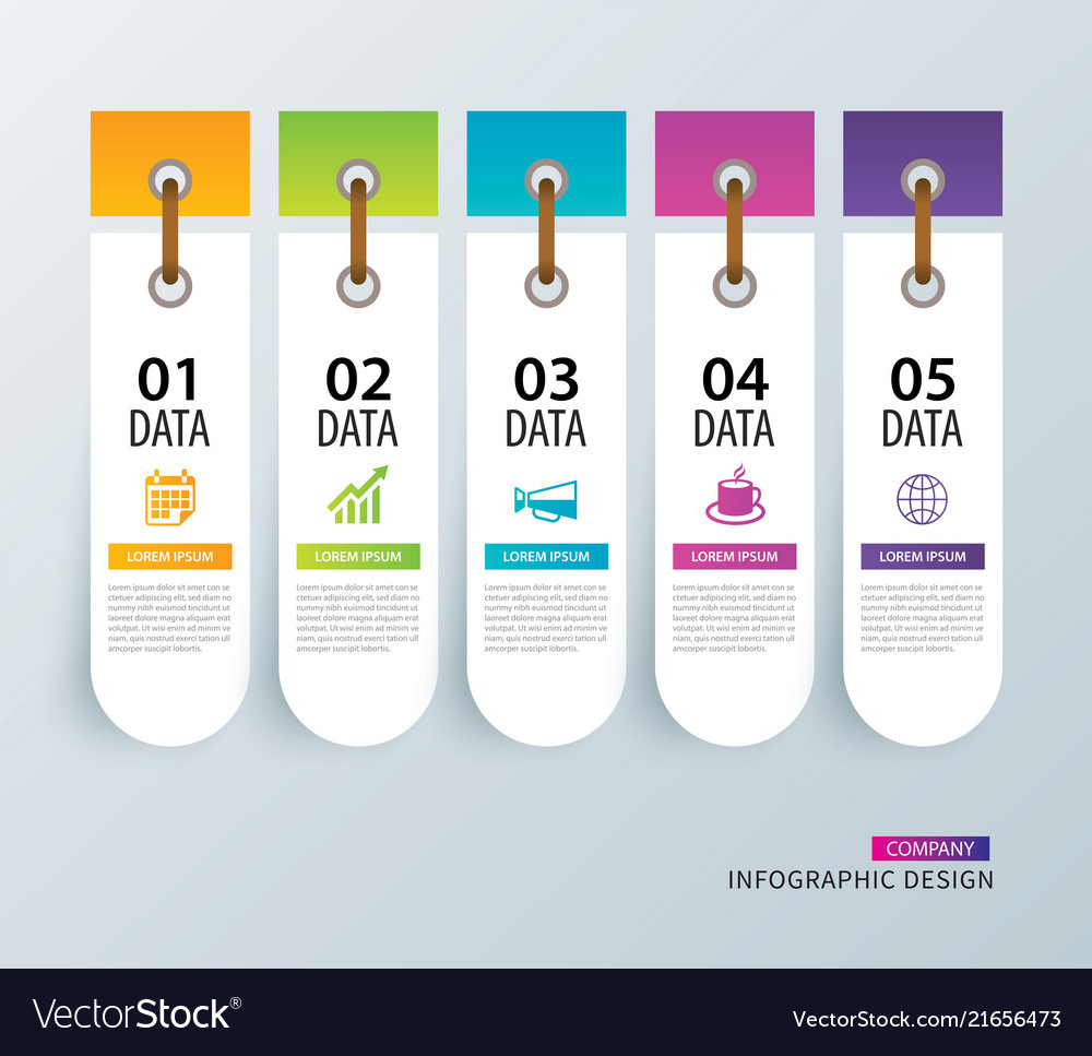 Infographics tab in vertical paper index with 5
