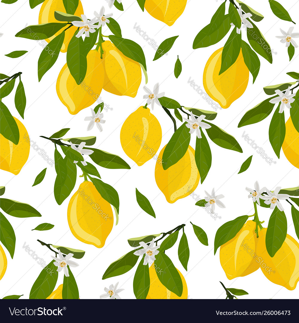 Lemon fruits seamless pattern with flowers and