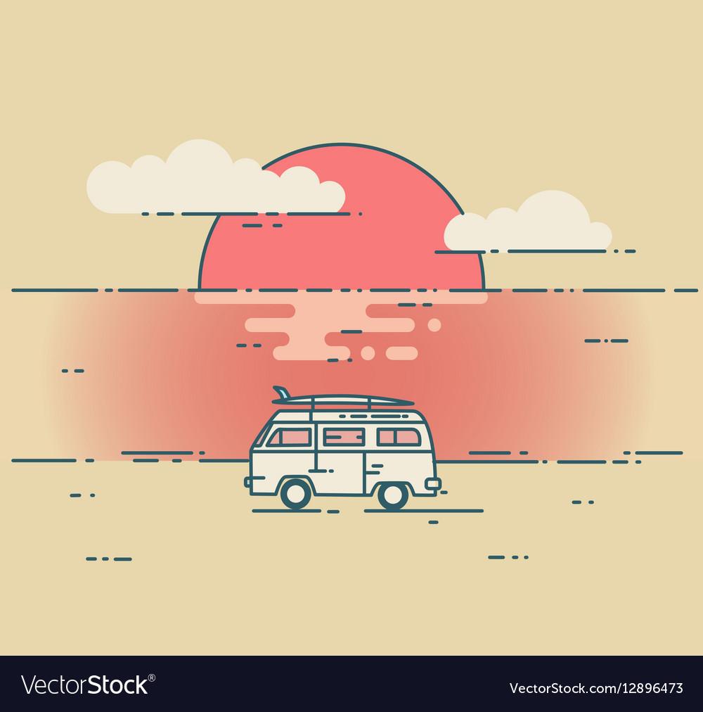Minivan and sea sunset landscape vector image
