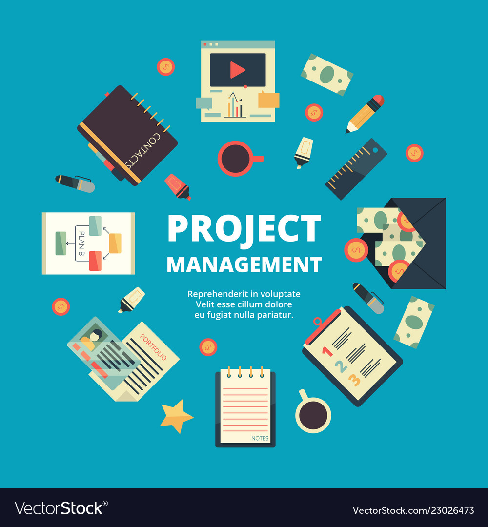 Project management background concept of office