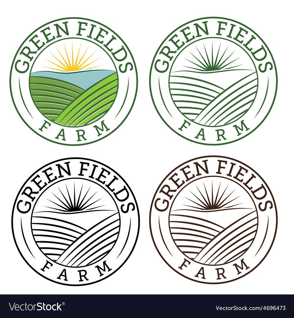 Set emblems green fields farm