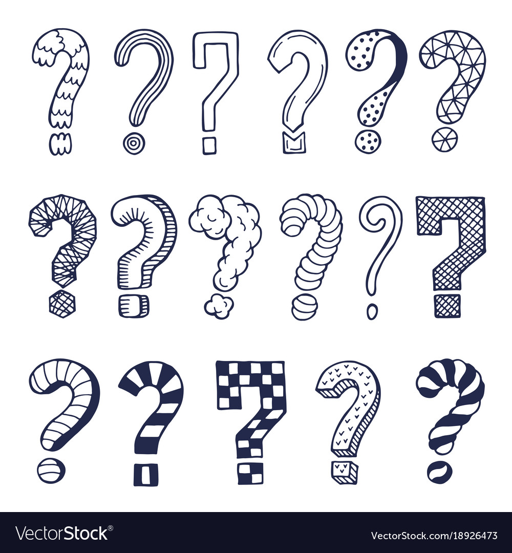 Set of drawn question marks in different styles