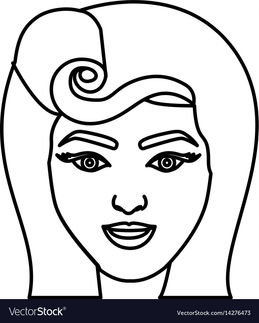 Silhouette drawing of face woman with pin up swirl