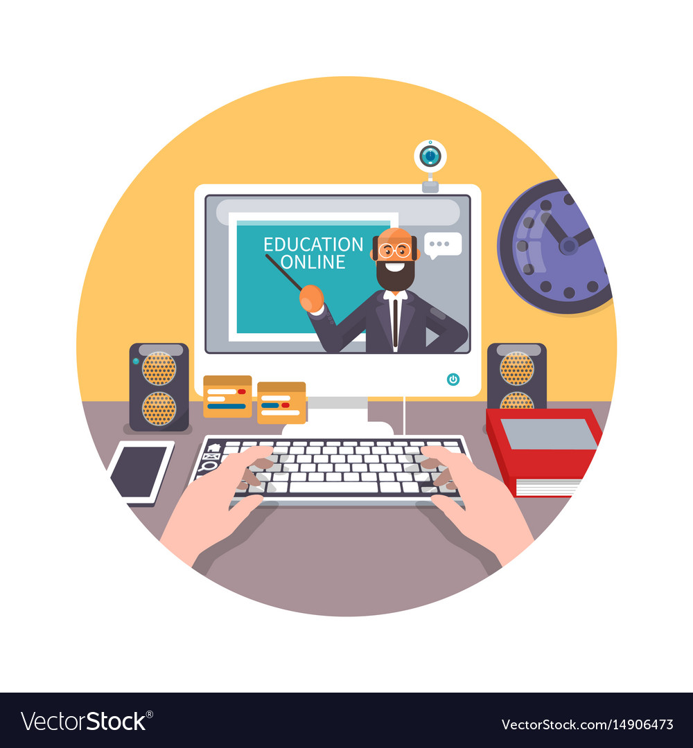 Training Education Online Tutorial E Learning Vector Image