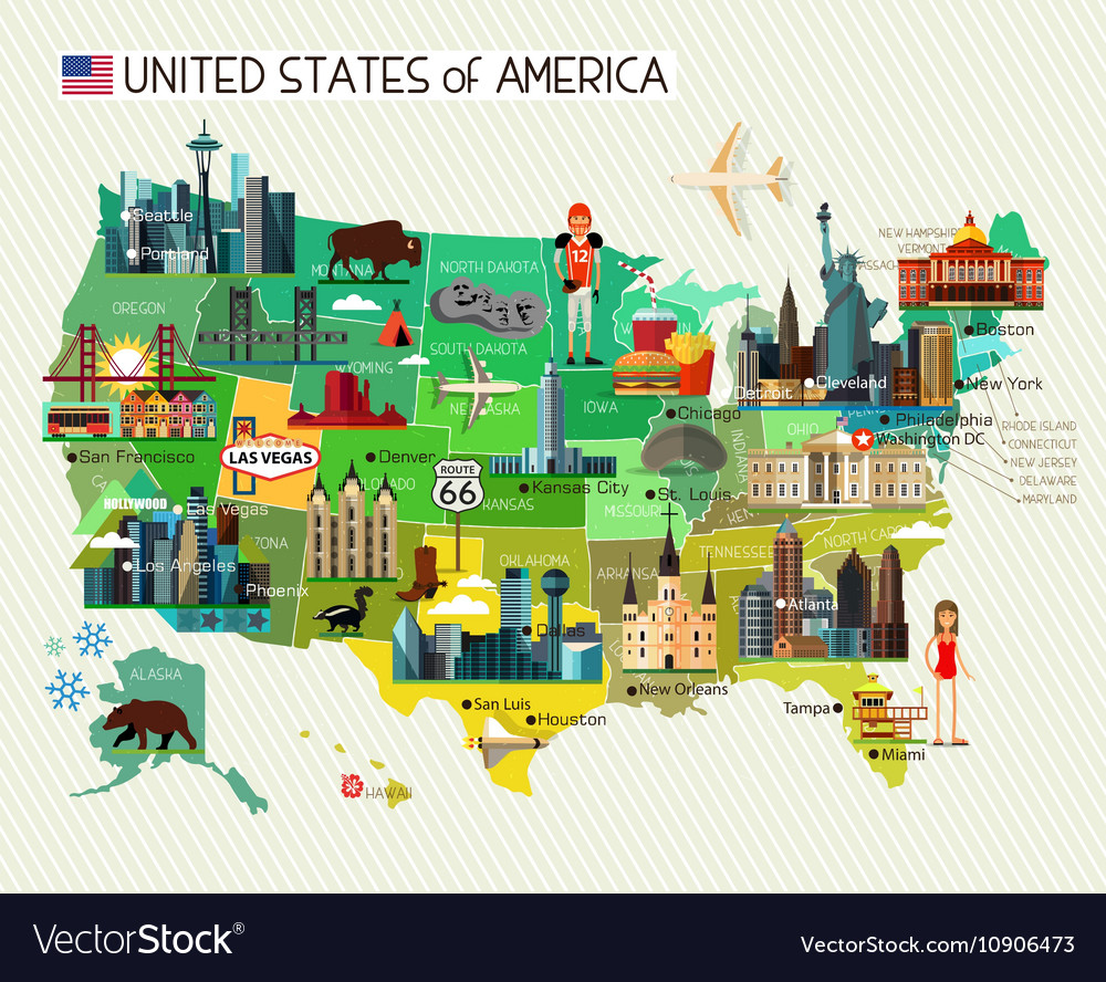 Map Of The United States Picture.Usa Travel Map Royalty Free Vector Image Vectorstock