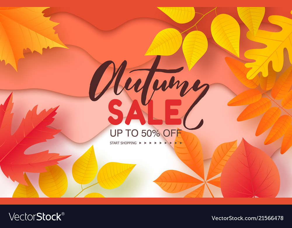 Autumn sale poster with colorful leaves