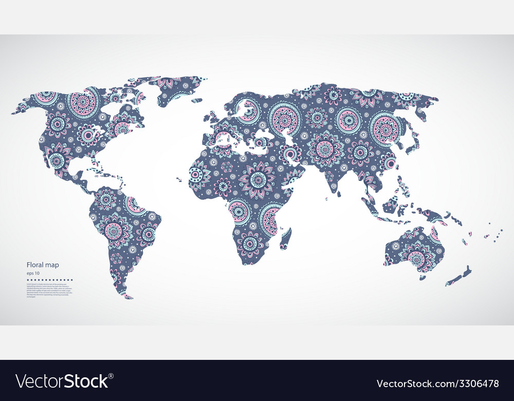 Beautiful floral world map royalty free vector image beautiful floral world map vector image gumiabroncs Image collections