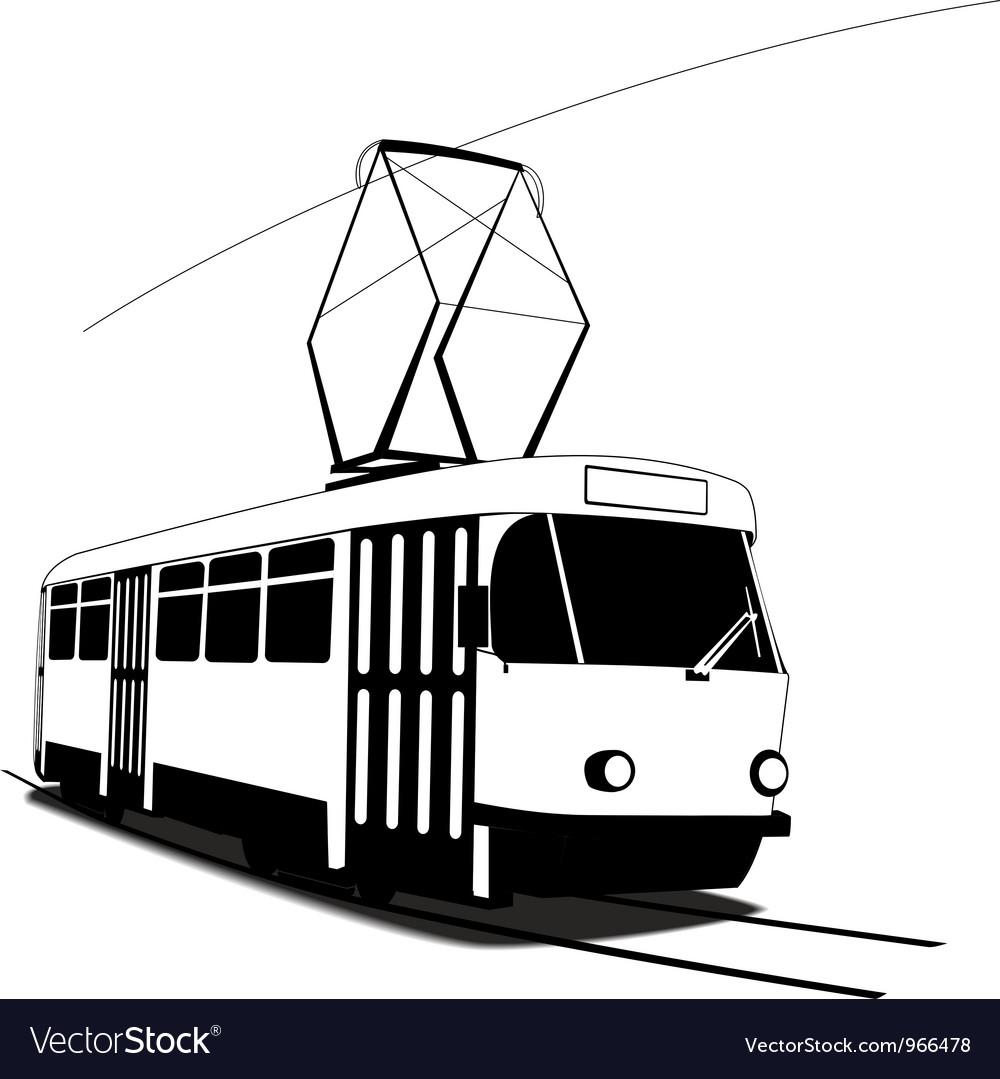 Трамвай картинка для детей черно белая