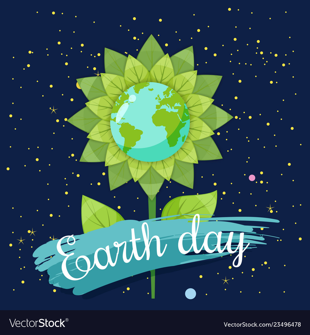 Earth day planets in a stylized flower against a