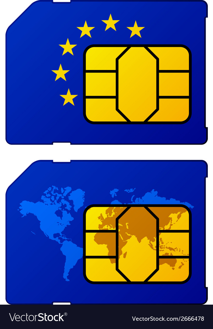 Europe flag world map sim card
