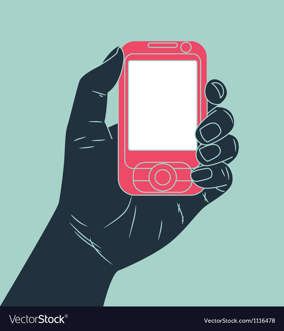 Hand holding cell phone vector image