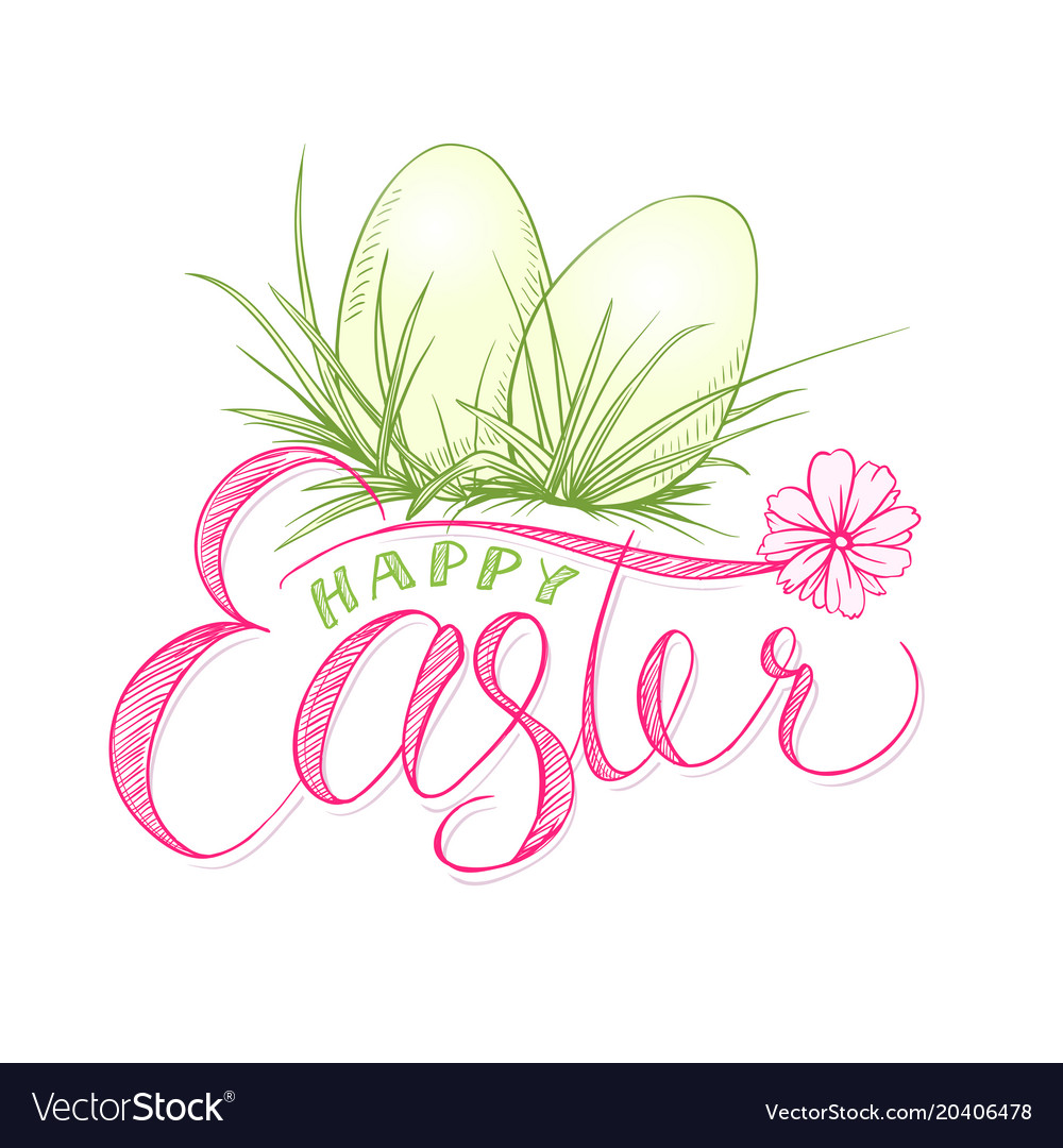 Happy easter card with eggs in grass religion