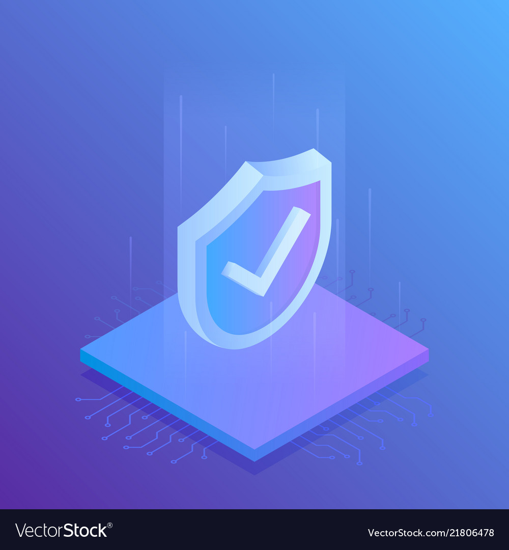 Isometric internet security shield