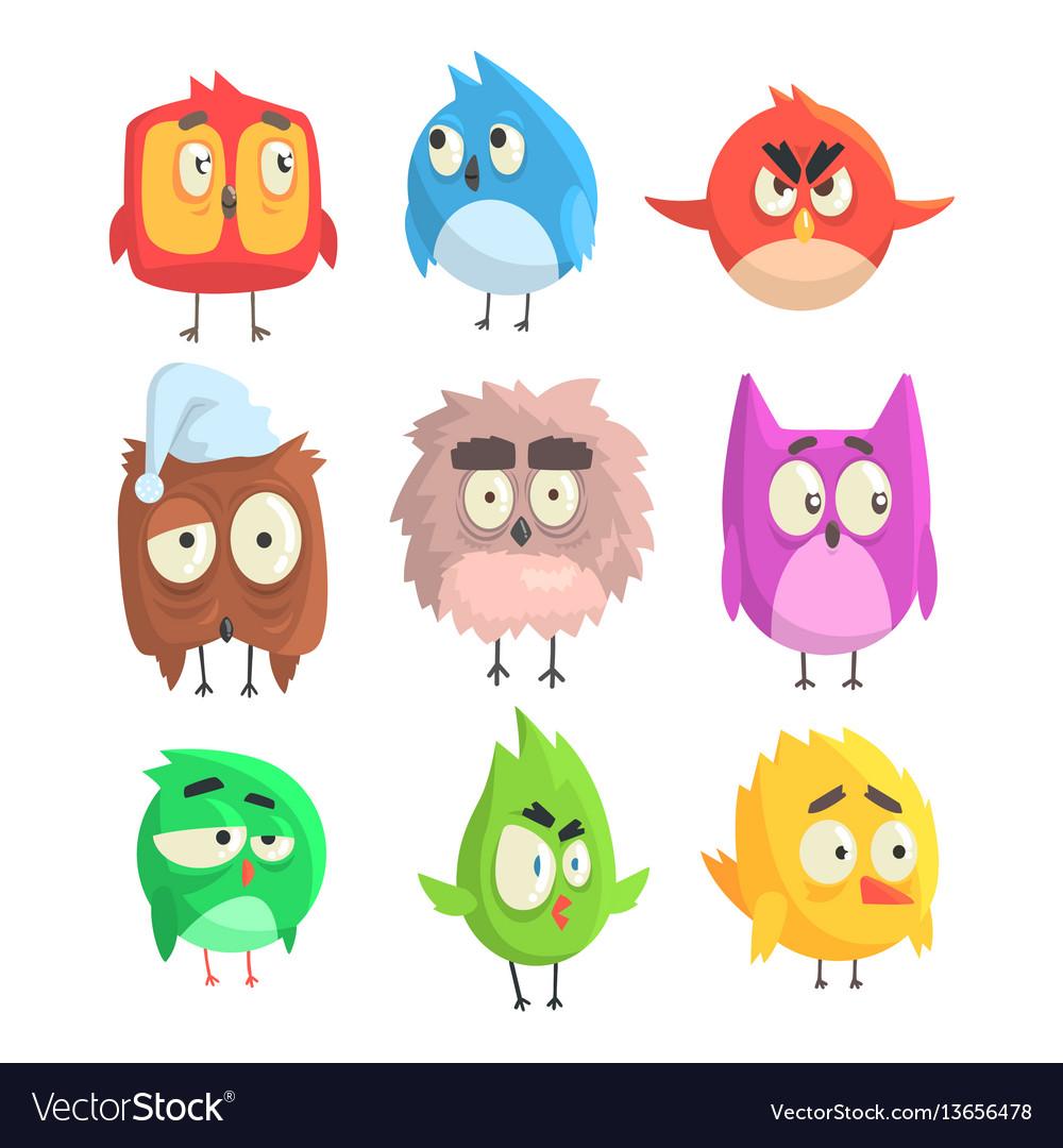 Little cute bird chicks set of cartoon characters