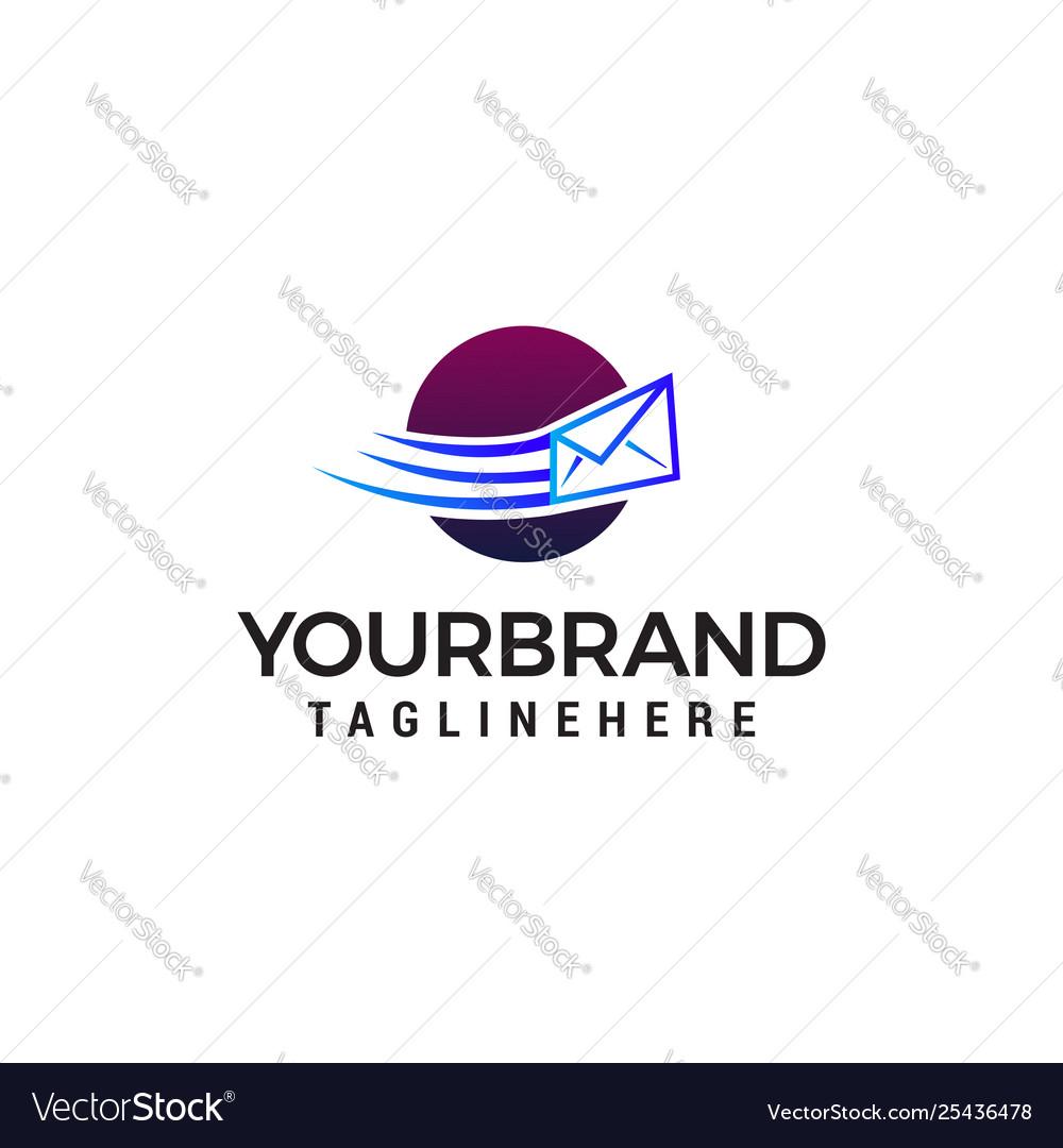 Message envelope sent logo design concept template