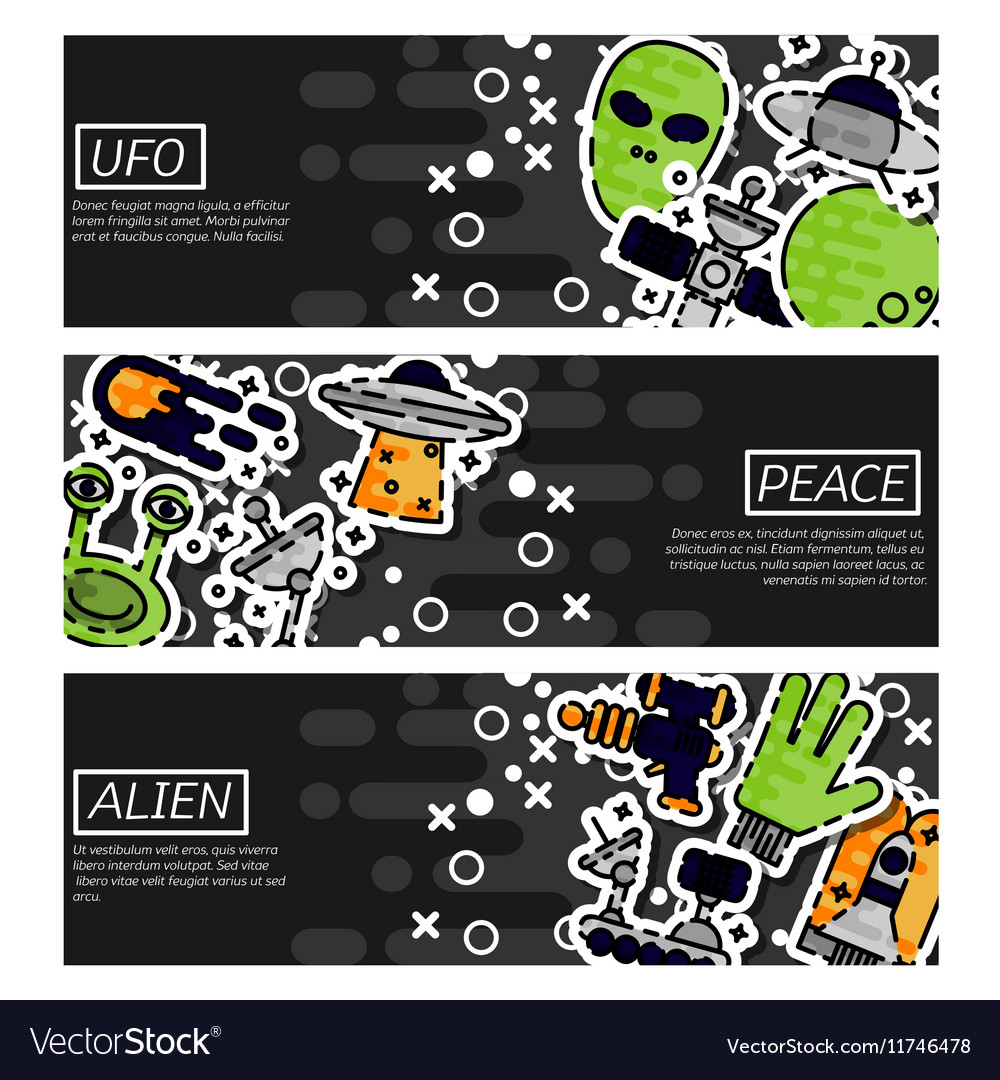 Set of Horizontal Banners about UFO