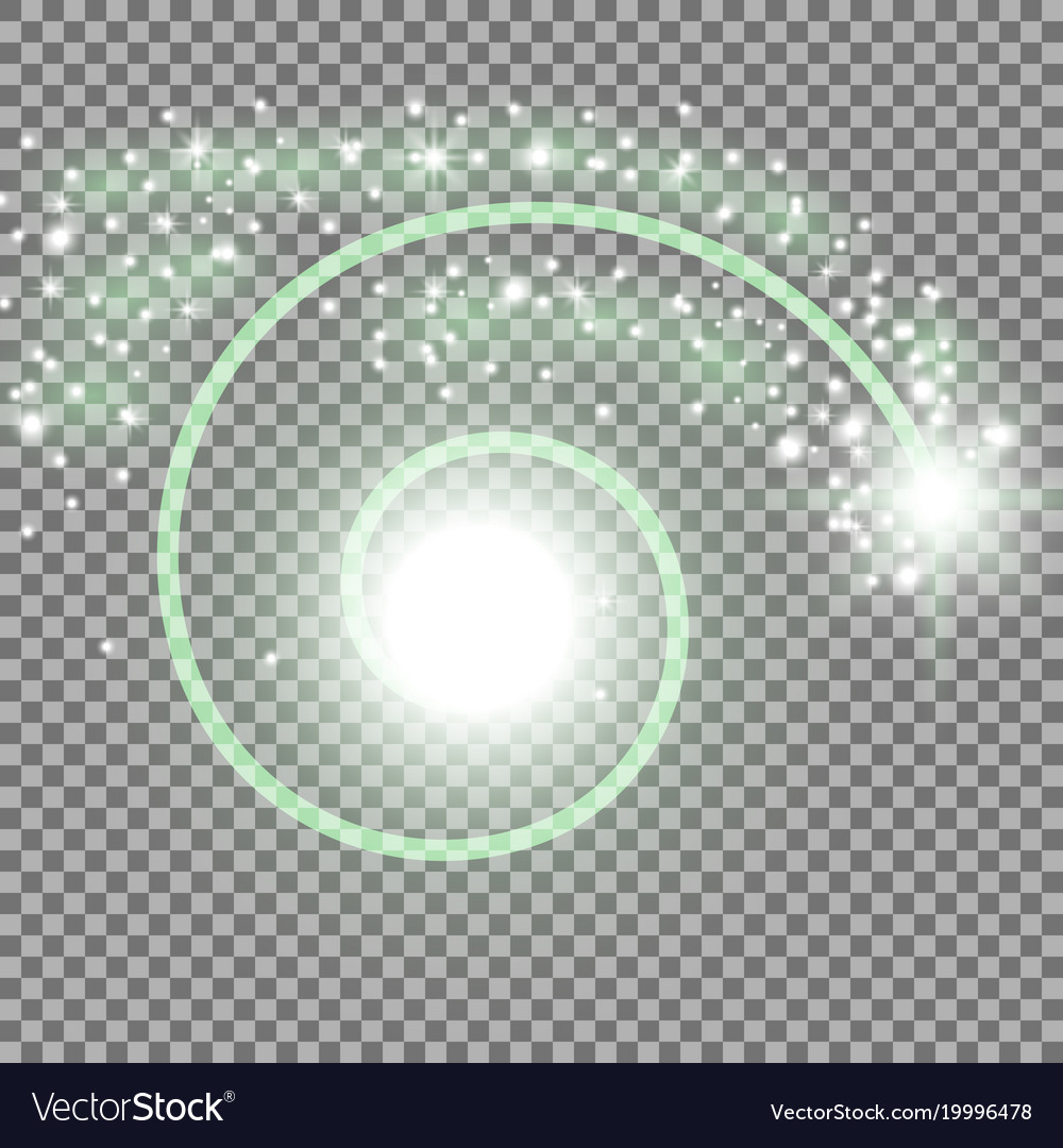 Spiral with particle dust green color vector image