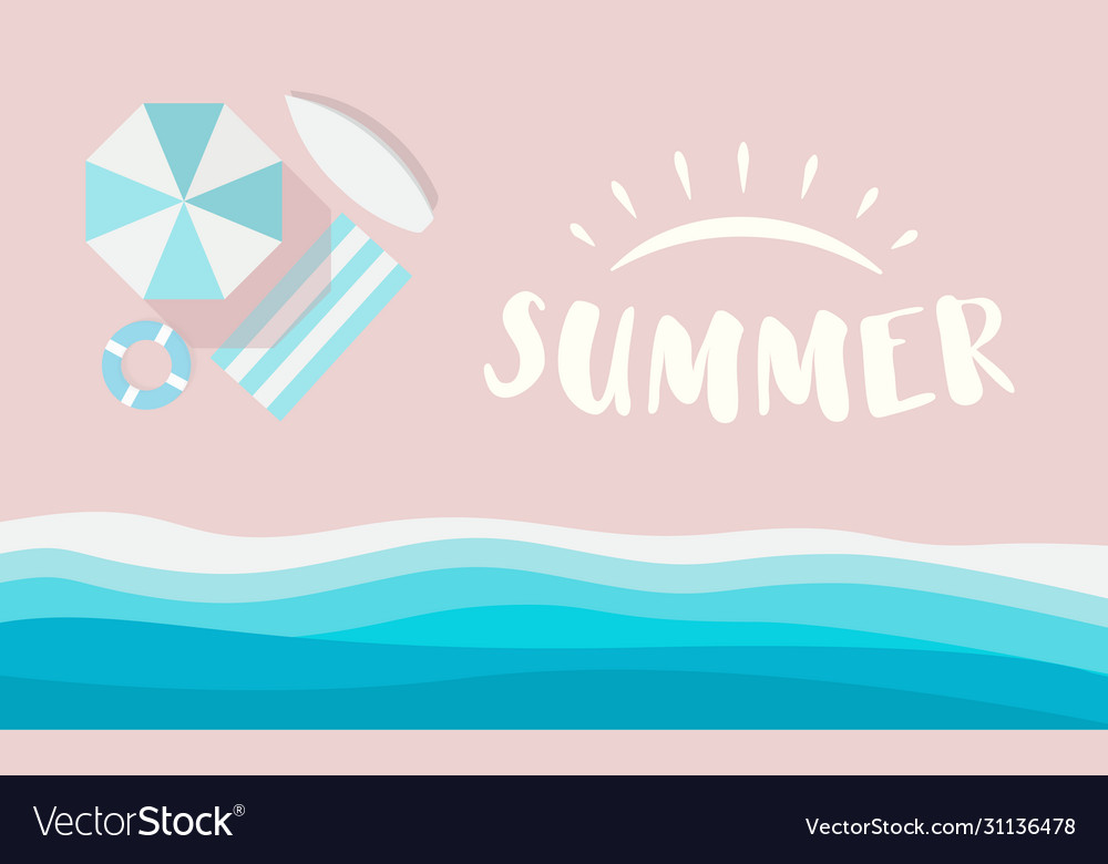 Summer logo on pink beach with sea waves