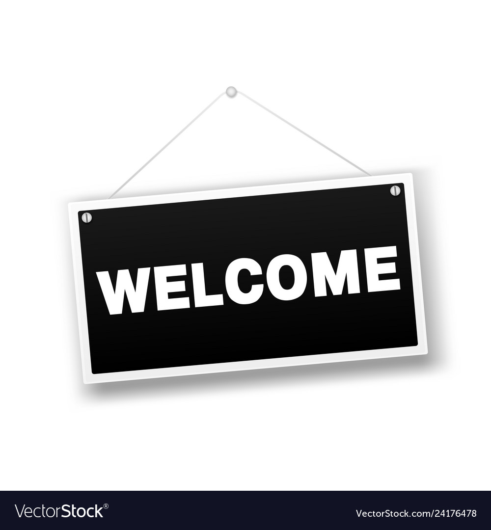 Welcome hanging sign isolated on white wall