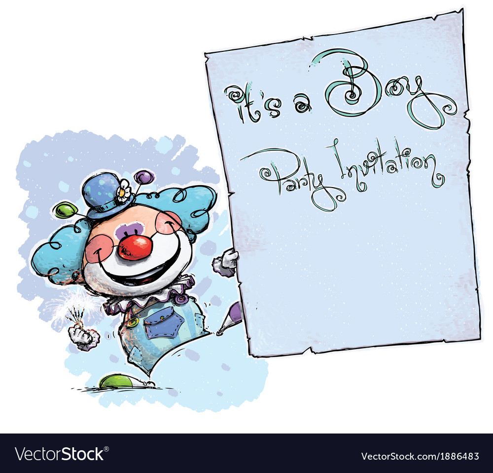 Clown Holding Invitation Its a Boy Party