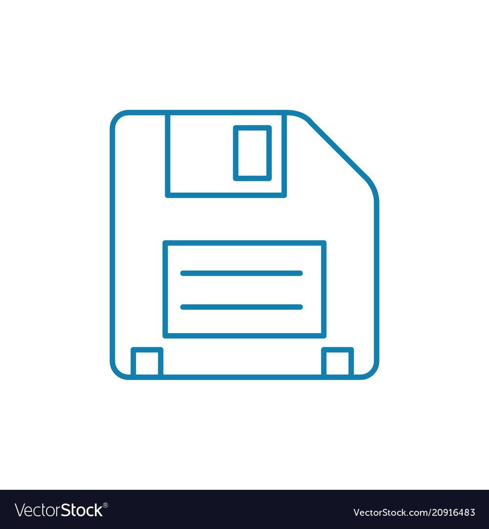Floppy disk linear icon concept floppy disk line