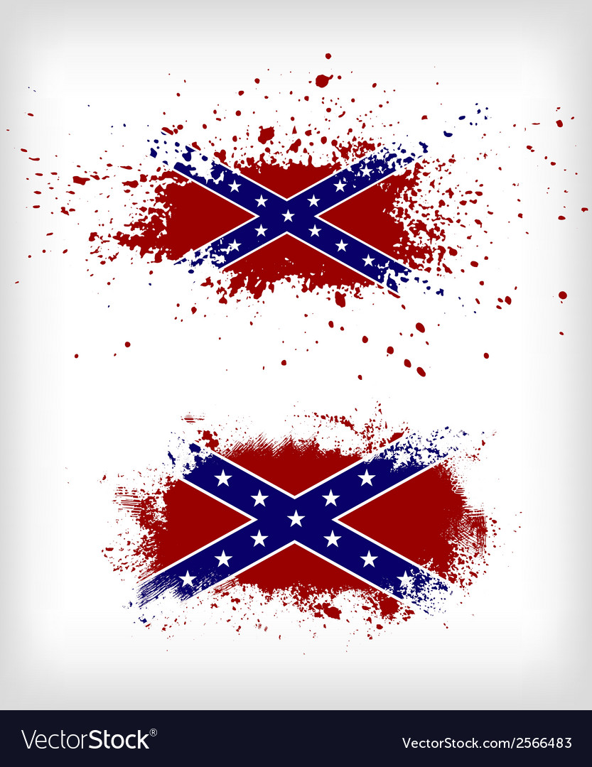 Grunge confederate flags set vector image