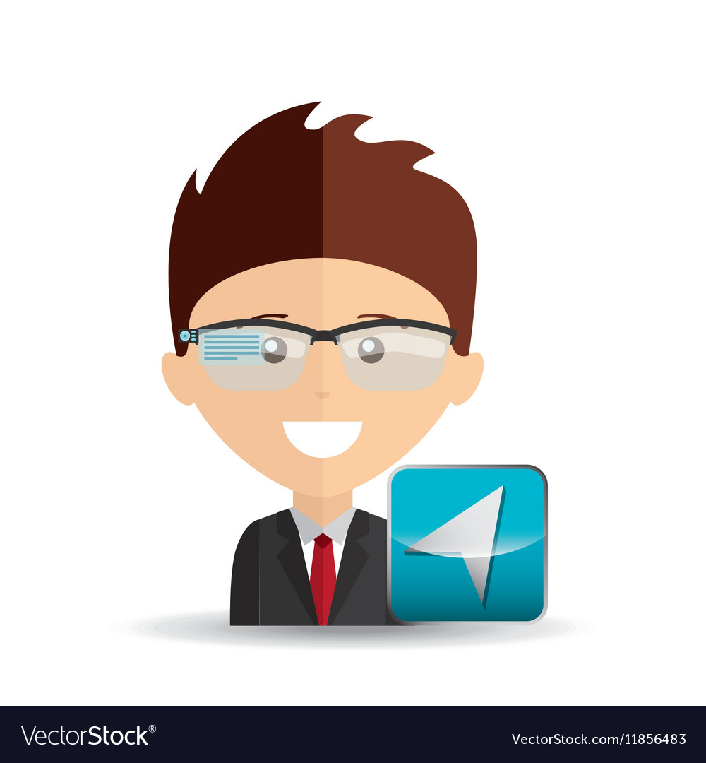 Happy businessman network media icon vector image
