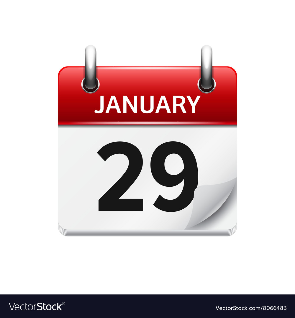january 29 flat daily calendar icon date vector image
