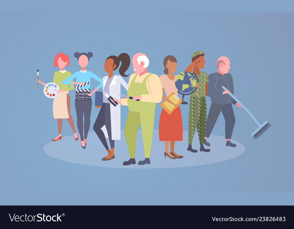 Labor day poster people of different professional