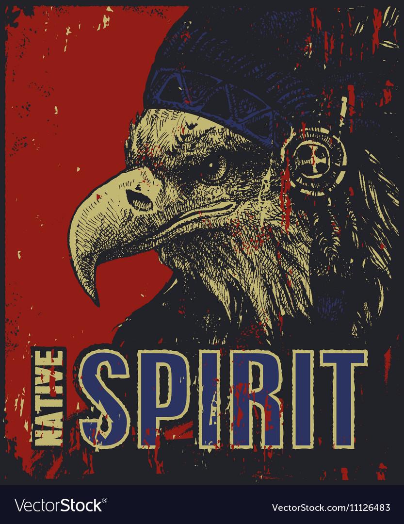 Native American poster eagle in war bonnet