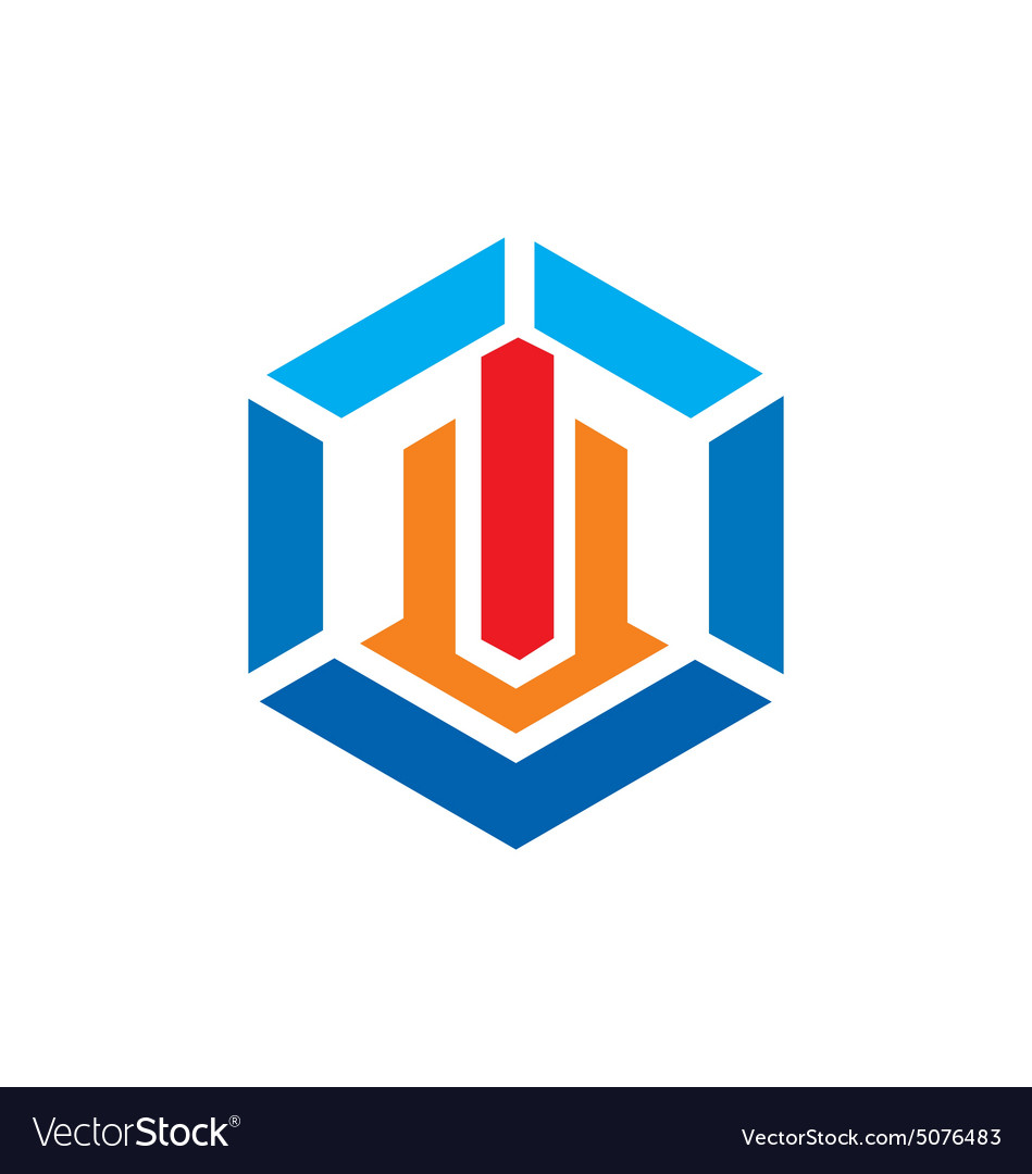 Polygon geometry construction building logo