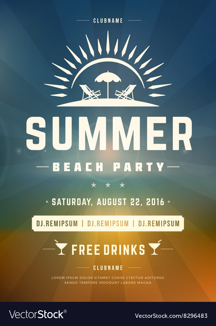 Retro Summer Holidays Beach Party Poster or Flyer
