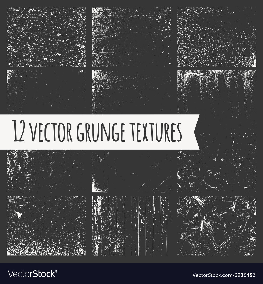 Set of different grunge textures