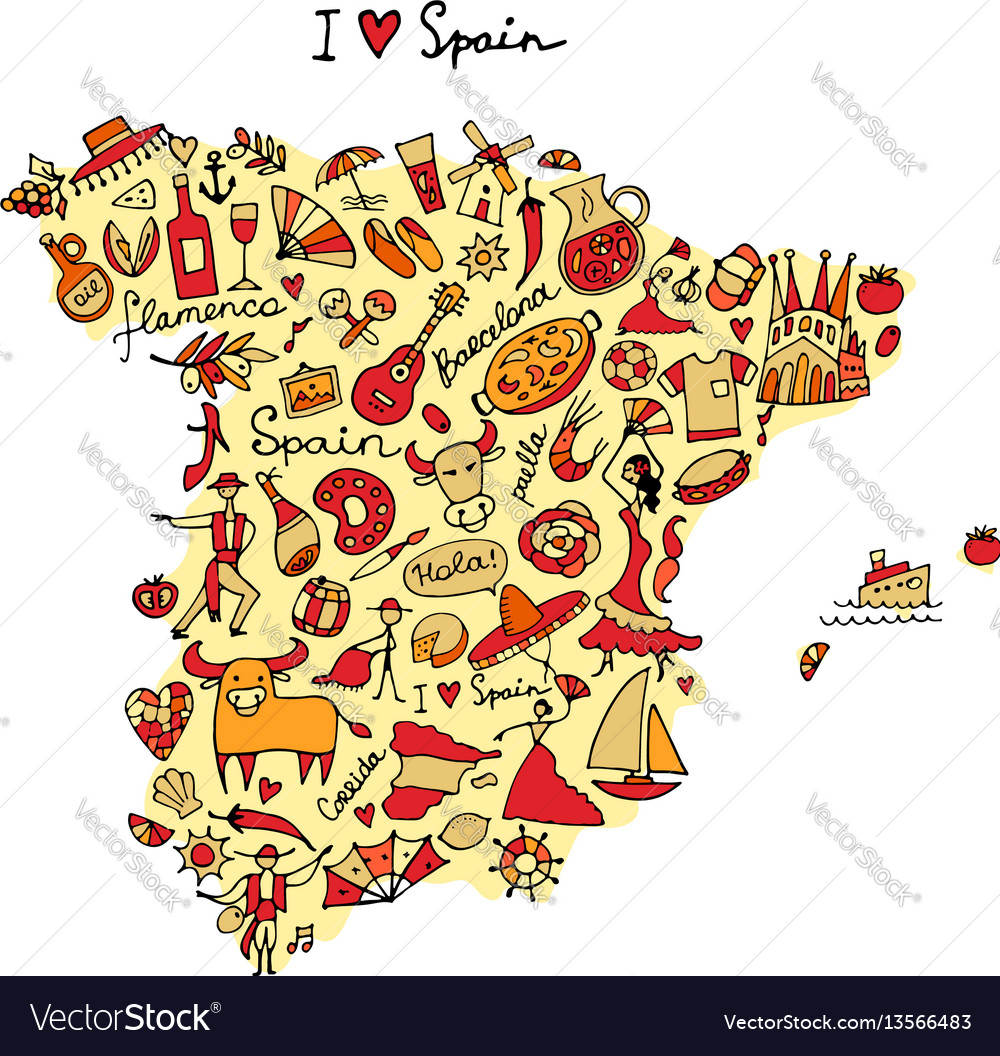 Spain map made from design elements sketch design