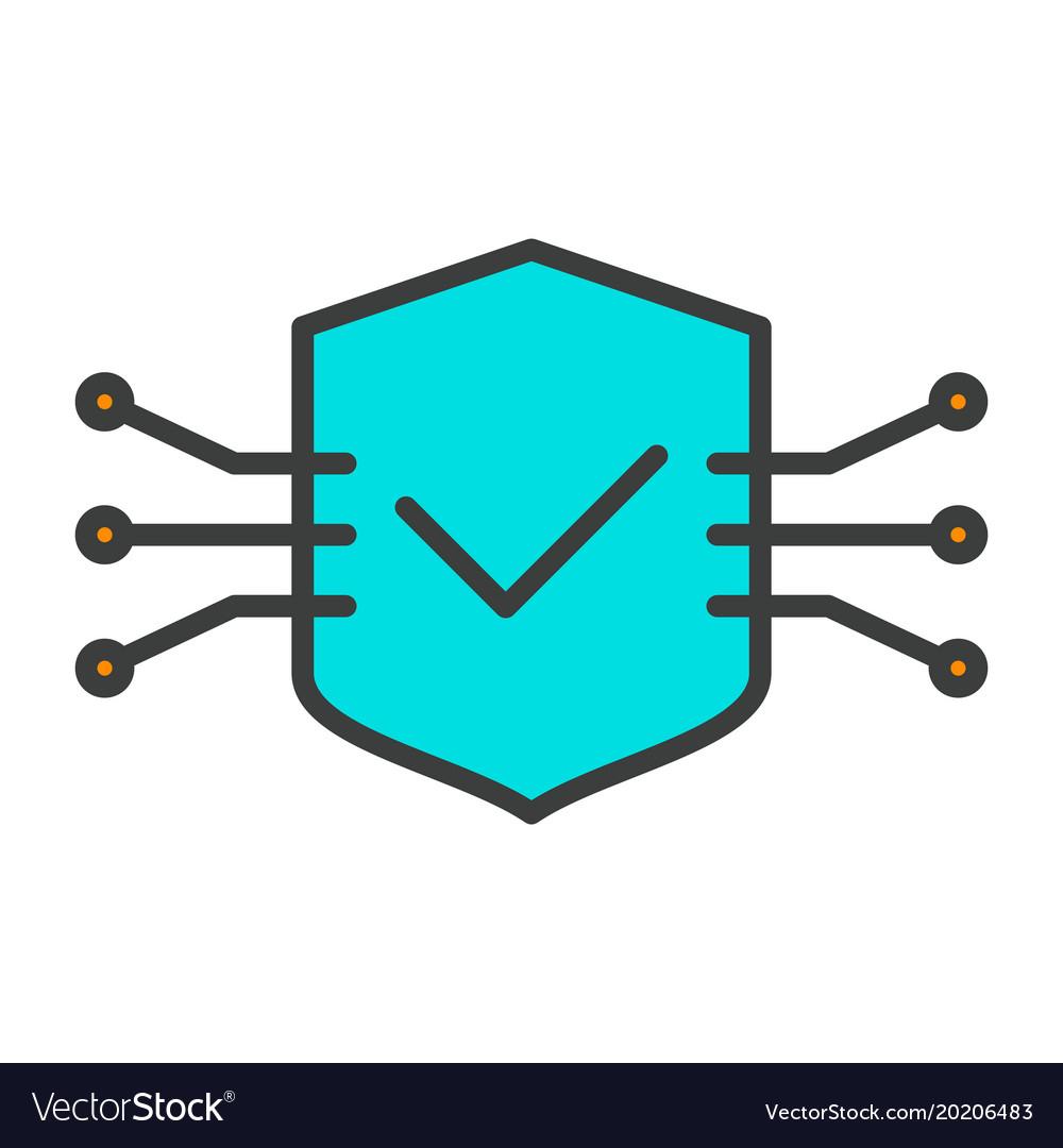 Tech circuit shield line icon minimal pictogram
