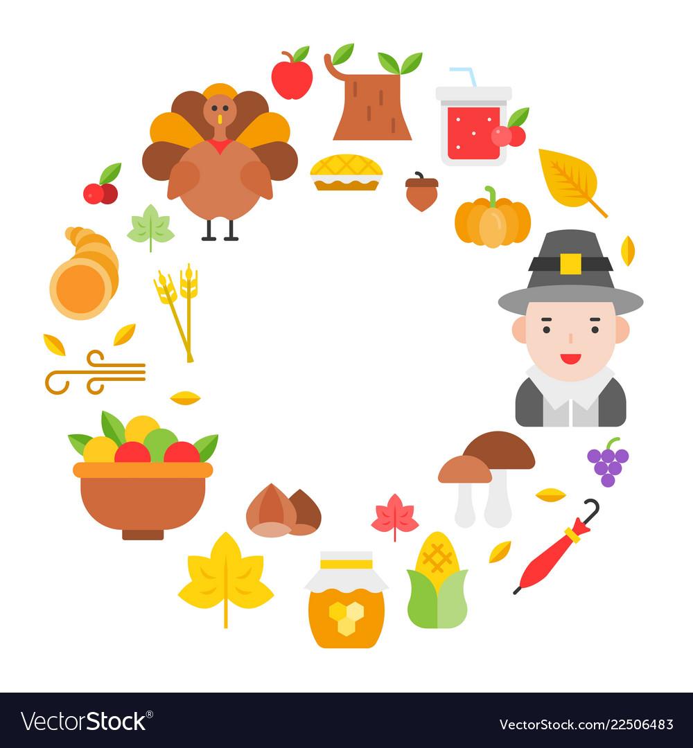 Thanksgiving icon arrange as circle frame shape