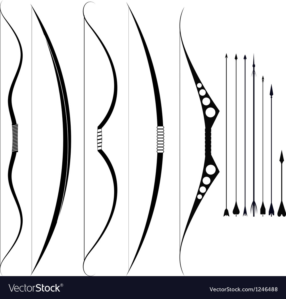 A set of military bows Medieval weapons vector image