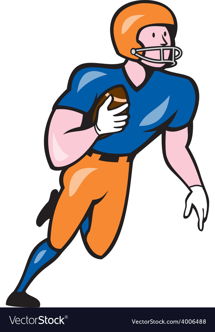 American Football Player Rusher Run Cartoon