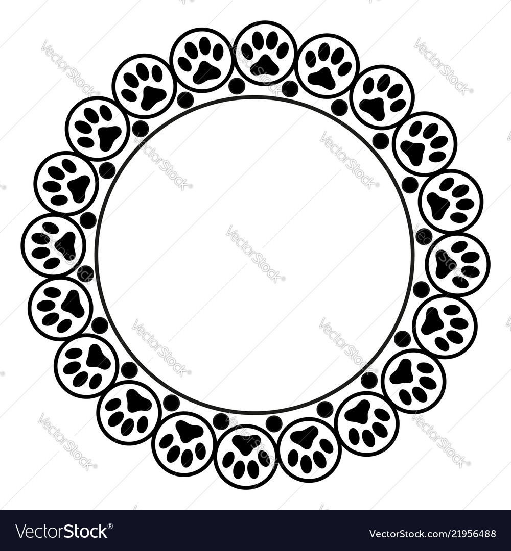 Black animal paw prints round frame border