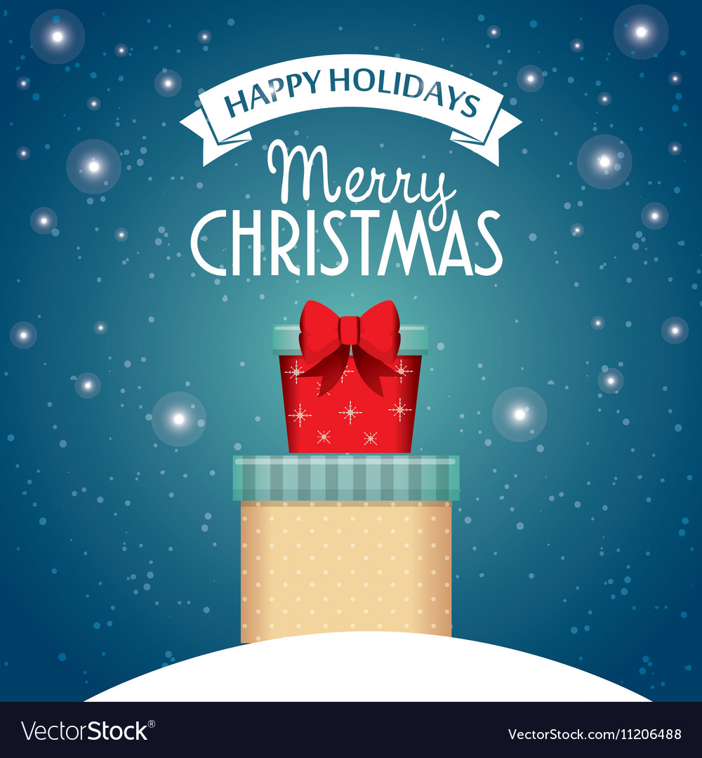 Card happy holidays and merry christmas with two